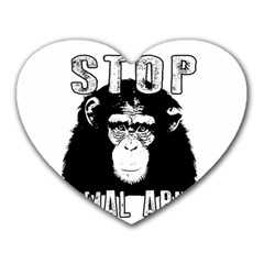 Stop Animal Abuse   Chimpanzee  Heart Mousepads by Valentinaart