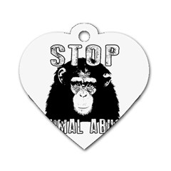 Stop Animal Abuse   Chimpanzee  Dog Tag Heart (two Sides) by Valentinaart