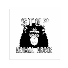 Stop Animal Abuse   Chimpanzee  Small Satin Scarf (square) by Valentinaart