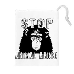 Stop Animal Abuse - Chimpanzee  Drawstring Pouches (Extra Large)