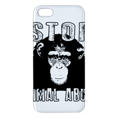 Stop Animal Abuse   Chimpanzee  Apple Iphone 5 Premium Hardshell Case by Valentinaart