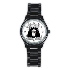 Stop Animal Abuse   Chimpanzee  Stainless Steel Round Watch by Valentinaart