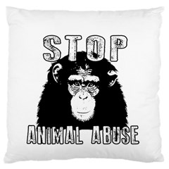 Stop Animal Abuse   Chimpanzee  Large Flano Cushion Case (one Side) by Valentinaart