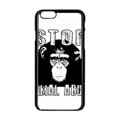 Stop Animal Abuse   Chimpanzee  Apple Iphone 6/6s Black Enamel Case by Valentinaart