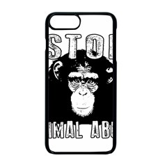 Stop Animal Abuse   Chimpanzee  Apple Iphone 7 Plus Seamless Case (black) by Valentinaart