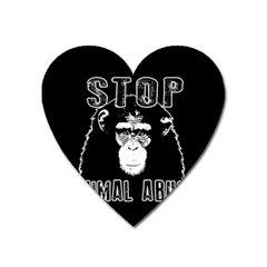 Stop Animal Abuse - Chimpanzee  Heart Magnet by Valentinaart