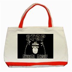 Stop Animal Abuse   Chimpanzee  Classic Tote Bag (red) by Valentinaart