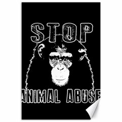 Stop Animal Abuse   Chimpanzee  Canvas 24  X 36  by Valentinaart