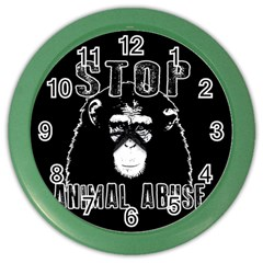 Stop Animal Abuse   Chimpanzee  Color Wall Clocks by Valentinaart