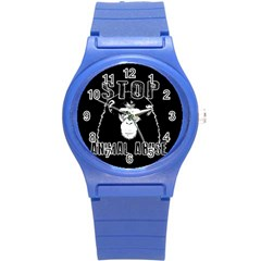 Stop Animal Abuse   Chimpanzee  Round Plastic Sport Watch (s) by Valentinaart