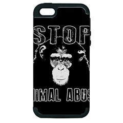 Stop Animal Abuse   Chimpanzee  Apple Iphone 5 Hardshell Case (pc+silicone) by Valentinaart