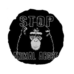 Stop Animal Abuse   Chimpanzee  Standard 15  Premium Round Cushions