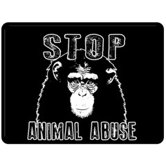 Stop Animal Abuse   Chimpanzee  Double Sided Fleece Blanket (large)  by Valentinaart
