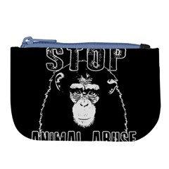Stop Animal Abuse   Chimpanzee  Large Coin Purse by Valentinaart