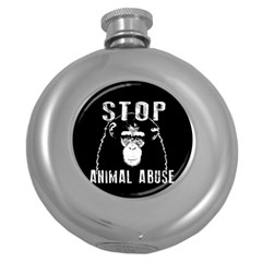 Stop Animal Abuse   Chimpanzee  Round Hip Flask (5 Oz) by Valentinaart
