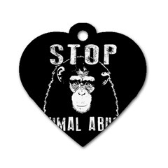 Stop Animal Abuse   Chimpanzee  Dog Tag Heart (one Side) by Valentinaart