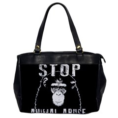 Stop Animal Abuse   Chimpanzee  Office Handbags by Valentinaart