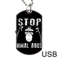 Stop Animal Abuse   Chimpanzee  Dog Tag Usb Flash (two Sides) by Valentinaart