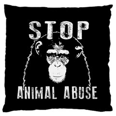 Stop Animal Abuse   Chimpanzee  Large Cushion Case (two Sides) by Valentinaart