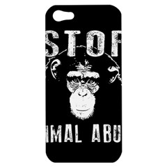 Stop Animal Abuse   Chimpanzee  Apple Iphone 5 Hardshell Case by Valentinaart
