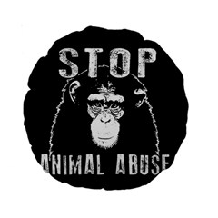 Stop Animal Abuse   Chimpanzee  Standard 15  Premium Round Cushions by Valentinaart