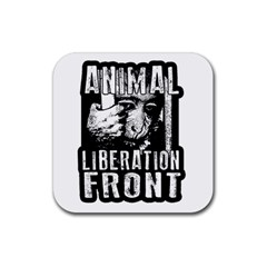 Animal Liberation Front   Chimpanzee  Rubber Square Coaster (4 Pack)  by Valentinaart