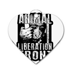 Animal Liberation Front   Chimpanzee  Dog Tag Heart (two Sides) by Valentinaart