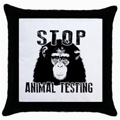 Stop Animal Testing   Chimpanzee  Throw Pillow Case (black) by Valentinaart