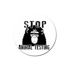 Stop Animal Testing   Chimpanzee  Magnet 3  (round) by Valentinaart
