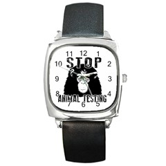 Stop Animal Testing   Chimpanzee  Square Metal Watch by Valentinaart
