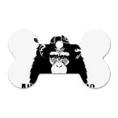 Stop Animal Testing   Chimpanzee  Dog Tag Bone (one Side) by Valentinaart