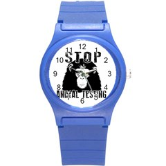 Stop Animal Testing   Chimpanzee  Round Plastic Sport Watch (s) by Valentinaart
