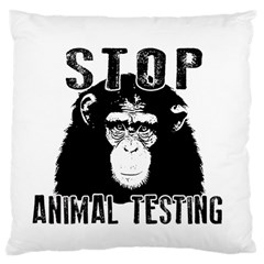 Stop Animal Testing   Chimpanzee  Large Cushion Case (one Side) by Valentinaart