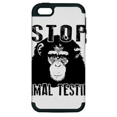 Stop Animal Testing   Chimpanzee  Apple Iphone 5 Hardshell Case (pc+silicone) by Valentinaart