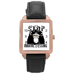 Stop Animal Testing   Chimpanzee  Rose Gold Leather Watch  by Valentinaart