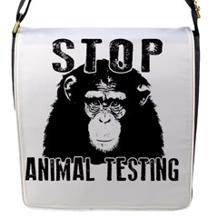 Stop Animal Testing   Chimpanzee  Flap Messenger Bag (s) by Valentinaart