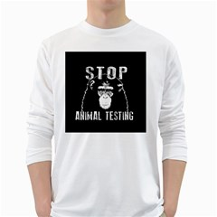 Stop Animal Testing   Chimpanzee  White Long Sleeve T Shirts