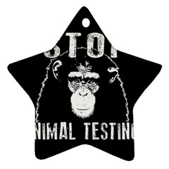 Stop Animal Testing   Chimpanzee  Star Ornament (two Sides) by Valentinaart