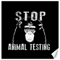 Stop Animal Testing   Chimpanzee  Canvas 12  X 12   by Valentinaart