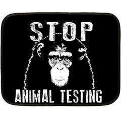 Stop Animal Testing   Chimpanzee  Double Sided Fleece Blanket (mini)  by Valentinaart