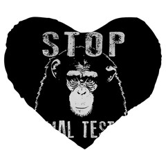 Stop Animal Testing   Chimpanzee  Large 19  Premium Heart Shape Cushions by Valentinaart