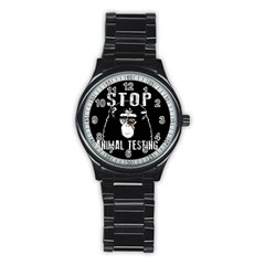 Stop Animal Testing   Chimpanzee  Stainless Steel Round Watch by Valentinaart