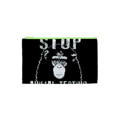 Stop Animal Testing   Chimpanzee  Cosmetic Bag (xs)