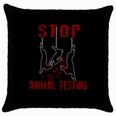 Stop Animal Testing   Rabbits  Throw Pillow Case (black) by Valentinaart