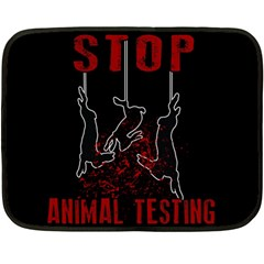 Stop Animal Testing   Rabbits  Double Sided Fleece Blanket (mini)  by Valentinaart