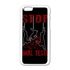 Stop Animal Testing   Rabbits  Apple Iphone 6/6s White Enamel Case by Valentinaart