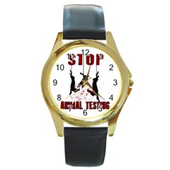 Stop Animal Testing   Rabbits  Round Gold Metal Watch by Valentinaart