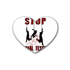 Stop Animal Testing   Rabbits  Rubber Coaster (heart)  by Valentinaart