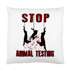 Stop Animal Testing   Rabbits  Standard Cushion Case (one Side) by Valentinaart