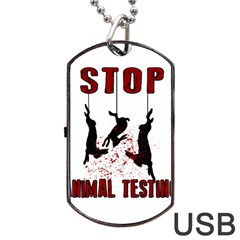 Stop Animal Testing   Rabbits  Dog Tag Usb Flash (one Side) by Valentinaart